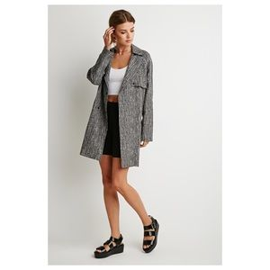 F21 Gray Contemporary Abstract Print Trench Coat